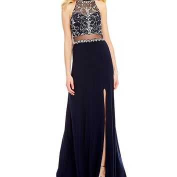 Blondie Nites Halter Neck Beaded Bodice Illusion-Waist Open-Back Long Dress | Dillards