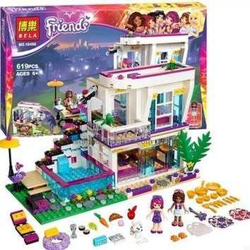 Bela Friends Series Livi's Pop Star House Building Blocks Compatible With LegoNGLY Friends Andrea mini-doll figures Toy 41135
