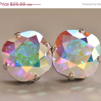 SALE Aurora Borealis Cushion Stud Earrings,Swarovski Crystal Earrings,Crystal AB,Rounded Square Post,Light Swarovski Pastel Rainbow,Weddings