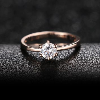 New Fashion 18K Rose Gold Plated Classic 6 Claws 1.2 Carat Simulated Diamond