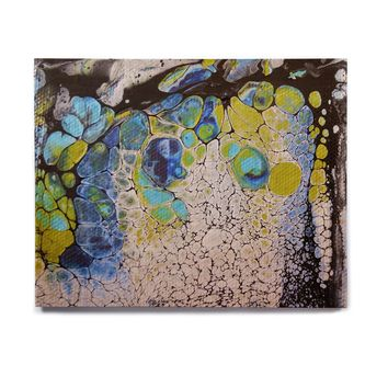 "Carol Schiff ""Bubbles"" Teal Green Abstract Celestial Painting Mixed Media Birchwood Wall Art"