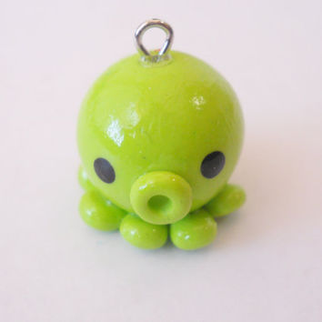 Cute Polymer Clay Green Baby Octopus Charm
