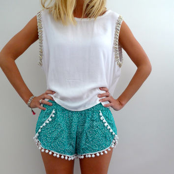 Pom Pom Flap Shorts - Green and White Leaf Print with Large White Pom Pom's