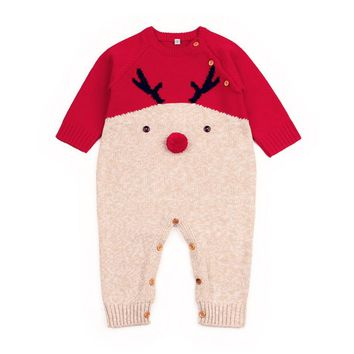 Christmas Newborn Boys Girls Rompers Long Sleeve Deer Knitting Romper Newborn Baby Overalls Pajamas Party Costume Baby Clothes