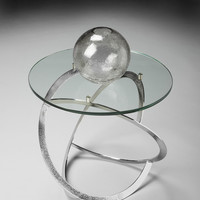 Bunching Accent Table Stainless Steel and Glass