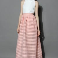 Glam Stripes Cutout Maxi Skirt in Peach Pink