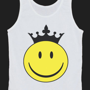 Smiley Face Crown Tank Top Women Tops White Tee Shirt Tank Tops Size XS, S, M, L