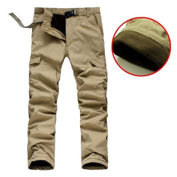 Winter Double Layer Men's Cargo Pants Men Fleece Warm Thick Baggy Cotton Trousers Casual Army Military Camouflage Tactical ck01