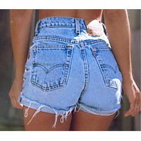 Summer Trending Women Stylish High Waist Cowboy Shorts I13115-1