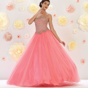 Quinceanera Long Prom Dress Ball Gown Formal