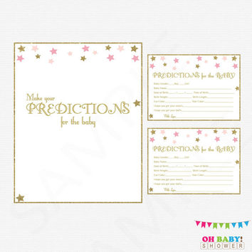Twinkle Twinkle Little Star Baby Shower, Predictions for Baby, Baby Predictions, Pink Gold Baby Shower Activity, Printable Sign, Girl, STPG