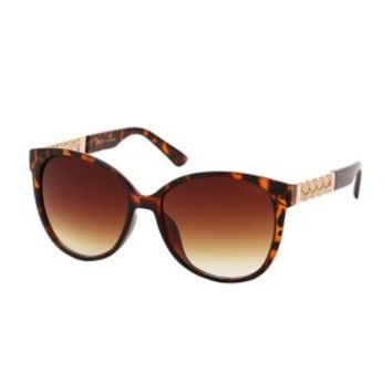 Brown Combo Chain & Plastic Cat Eye Sunglasses by Charlotte Russe