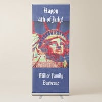 Statue of Liberty with 4th of July Word Cloud Retractable Banner