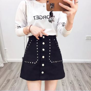 Black Button Down denim skirt B0016434