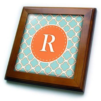 3dRose ft_210619_1 Letter R Monogram Orange & Blue Quatrefoil Pattern Framed Tile, 8 by 8""