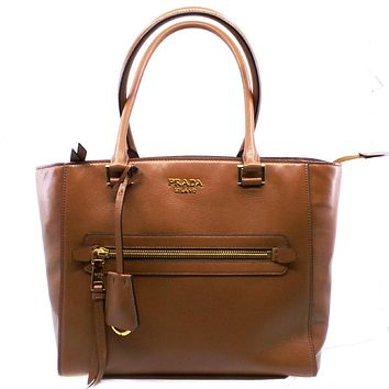 Prada Glace Calf Twin Pocket Tote Cognac Brown Leather Tote Bag 1BG227