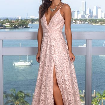 Blush Lace Maxi Dress with Sequins
