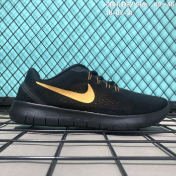 DCCK N154 Nike Air Free 5.0 Flyknit Breathable Causal Running Shoes Sneaker Black Gold