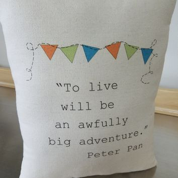 Peter Pan Throw Pillow Book Cushion New Baby Gift Nursery Decor