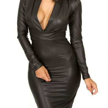 Black Faux Leather V-Neck Long Sleeve Dress