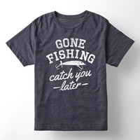 Heather Blue 'Gone Fishing Catch You Later' Tee - Kids