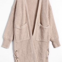 Open Front Lace Up Cardigan with Pockets