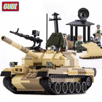 GUDI Military Building Blocks War Weapon Armed T-62 Tanks Model Bricks compatible Legoe Blocks Toys for Children Christmas Gifts