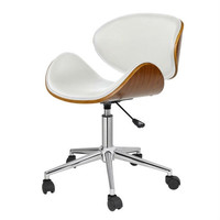White Home Office Mid-Century Modern Classic Mid-Back Desk Chair