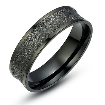 Stainless Steel Black Concave Sparkle Finish Ring