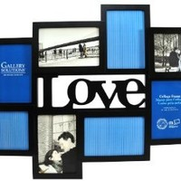Gallery Solutions Black 3D Love Collage Frame with 8 Openings