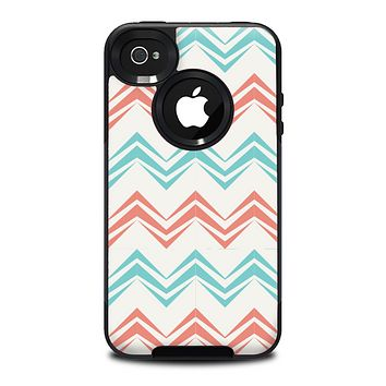 The Vintage Coral & Teal Abstract Chevron Pattern Skin for the iPhone 4-4s OtterBox Commuter Case