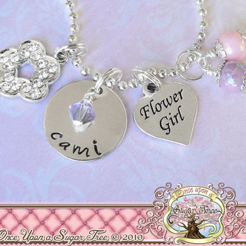 Personalized Wedding Gift FLOWER GIRL CHARM Necklace, Personalized Name Jewelry Metal Stamped Charm Necklace, Heart Charm Bridal Party Gifts