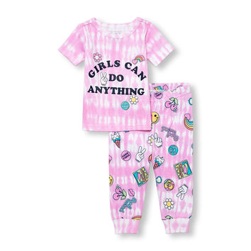 Baby And Toddler Girls Short Sleeve Tie-Dye 'Girls Can Do Anything' Top And Patch Printed Pants PJ Set | The Children's Place