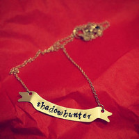 SHADOWHUNTER Banner Necklace Cassandra Clare The Mortal Instruments Hand Stamped Silver Filled Necklace Geekery