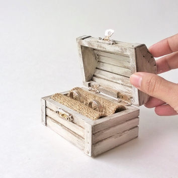 White Treasure Chest Ring Bearer - Rustic Ring Bearer Box - Treasure Chest Ring Box - Wooden Ring Box - Wedding Ring Box
