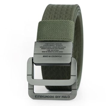 Military Equipment Tactical Belt Man Double Ring Buckle Thicken Canvas Belts for Men Waistband