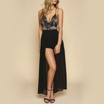 life of the party black sequin maxi romper