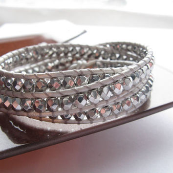 Silver Triple Leather Wrap Bracelet, Metallic Silver leather, Silver beads