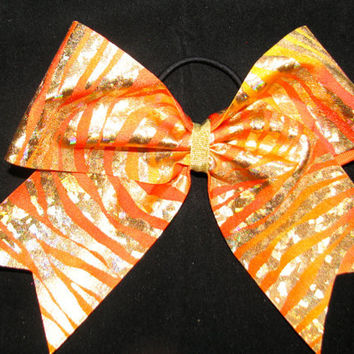Orange Zebra Cheer Bow by Justcheerbows on Etsy