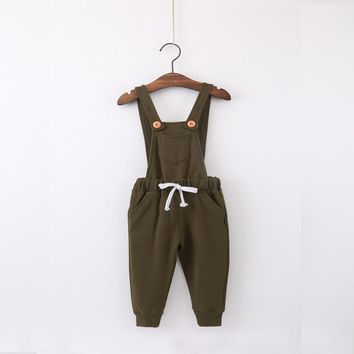 2016 new baby boy girl clothes fashion autumn kids overalls children cotton knitted pocket suspender pants kids child clothing
