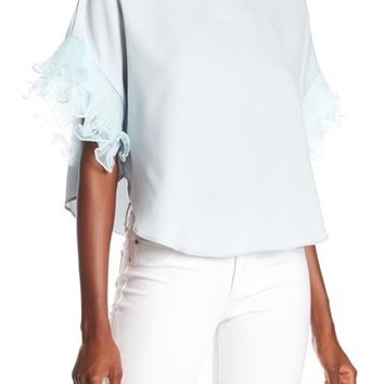 OnTwelfth | Pleated Ruffle Shirt Sleeve Top | Nordstrom Rack