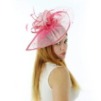 A Photo Finish Fascinator Derby Cocktail Hat with Headband (Pink with Berry)