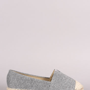 Marled Knit Braided Espadrille Slip On Loafer Flat