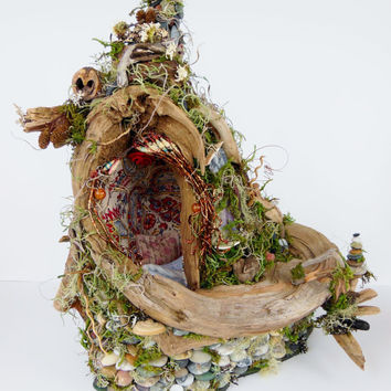 Awaiting Fae, Fairy House, Home, Natural Dwelling, Mixed media art sculpture