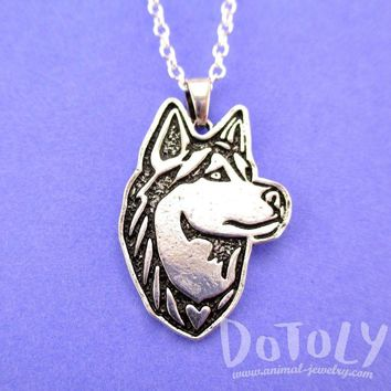 Siberian Husky Dog Portrait Pendant Necklace in Silver | Animal Jewelry