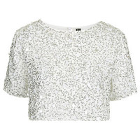 Sequin Crop Top - White