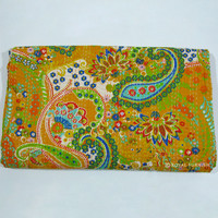 Queen Indian Hand Sitiched Floral Kantha Quilt Throw Blanket