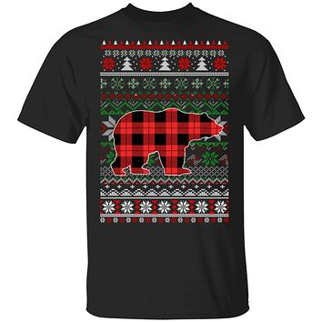 Bear Red Plaid Ugly Christmas Sweater Funny Gifts