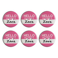 Zara Hello My Name Is Plastic Resin Button Set of 6