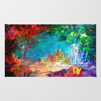 WELCOME TO UTOPIA Bold Rainbow Multicolor Abstract Painting Forest Nature Whimsical Fantasy Fine Art Area & Throw Rug by EbiEmporium